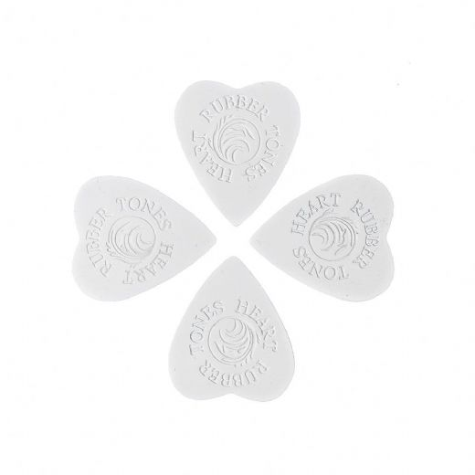 Rubber Tones Heart White Silicone 4 Picks